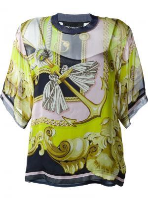Прозрачная блузка с принтом барокко Marco Bologna. Цвет: none
