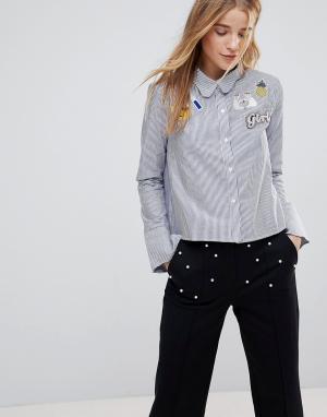 The English Factory Рубашка в полоску с фигурным воротником и нашивками Factor. Цвет: синий