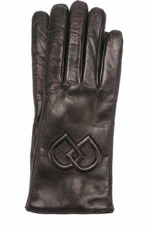 Кожаные перчатки с логотипом бренда Dsquared2. Цвет: черный
