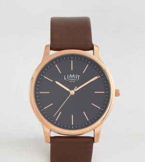 Limit Часы с коричневым кожаным ремешком и полосатым циферблатом экскл. Цвет: коричневый