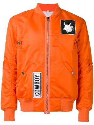 Patch bomber jacket Helmut Lang. Цвет: жёлтый и оранжевый