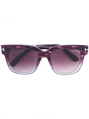 Солнцезащитные очки с квадратной оправой Tom Ford Eyewear. Цвет: розовый и фиолетовый