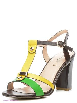 Босоножки INARIO. Цвет: желтый, зеленый, коричневый