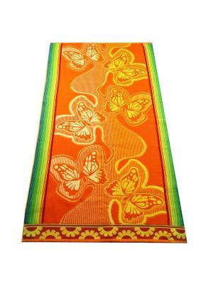 Полотенце махровое пестротканое жаккардовое  Бабочки Авангард. Цвет: оранжевый, желтый
