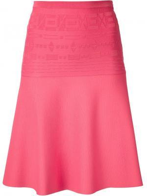 Расклешенная юбка с геометрическим узором Maison Ullens. Цвет: розовый и фиолетовый