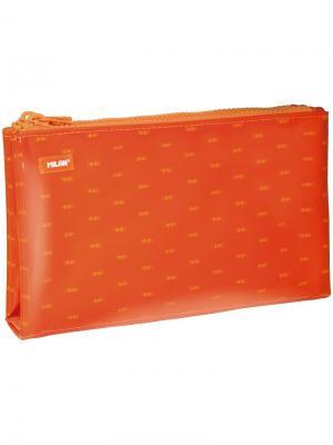 Пенал-косметичка 225*35*135 Look, 6 отделений, оранжевый, ПВХ Milan. Цвет: оранжевый