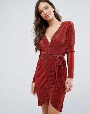 Wal G Платье с запахом спереди. Цвет: красный