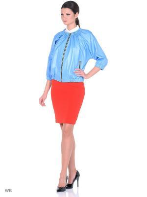 Кожаная куртка Adamo.. Цвет: синий