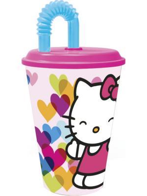 Стакан пластиковый с соломинкой и крышкой (спортивный, 430 мл). Hello Kitty Сердечки Stor. Цвет: красный, синий, черный