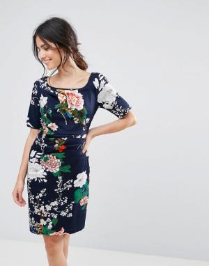 Uttam Boutique Платье с цветочным принтом и сборками. Цвет: темно-синий