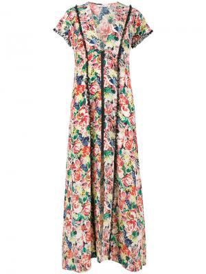 Платье макси с цветочным принтом на молнии Ganni. Цвет: многоцветный