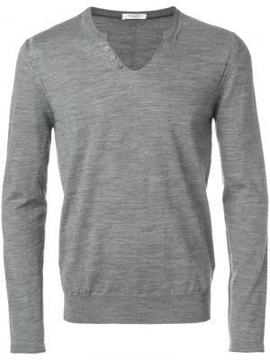 Классический трикотажный свитер Paolo Pecora. Цвет: серый