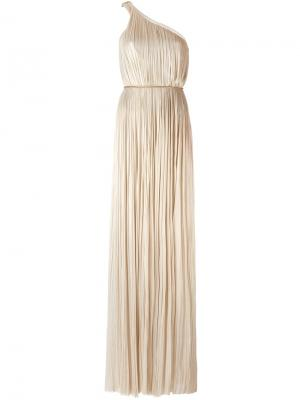 Платье на одно плечо Maria Lucia Hohan. Цвет: металлический