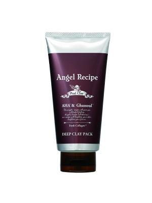 Крем-маска для глубокого очищения и мягкого пилинга кожи лица с тройным коллагеном, углем глиной ANGEL RECIPE. Цвет: черный