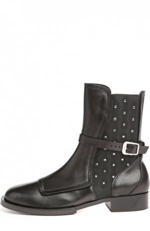 Кожаные ботинки со стразами No. 21. Цвет: черный