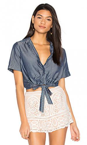 Рубашка на пуговицах с завязкой спереди sarai CHARLI. Цвет: синий