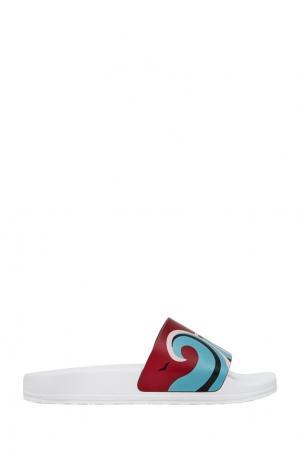 Кожаные сандалии Red Valentino. Цвет: голубой, черный, белый