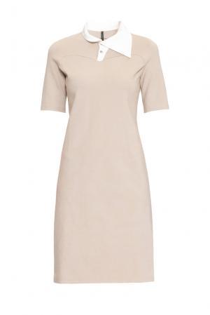 Трикотажное платье 162788 Firkant. Цвет: бежевый