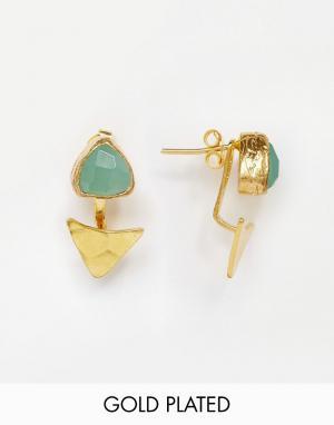 Ottoman Hands Серьги с треугольным дизайном и сине-зеленым халцедоном. Цвет: золотой
