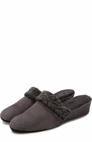 Замшевые домашние туфли с внутренней отделкой из овчины Homers At Home. Цвет: серый