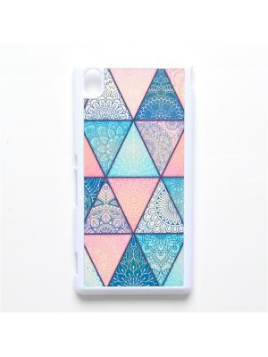 Чехол для Sony Xperia M4 Геометрический принт Boom Case. Цвет: бирюзовый, розовый