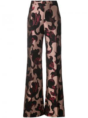 Расклешенные брюки с узором Christian Siriano. Цвет: чёрный