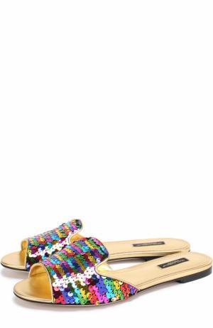 Шлепанцы Bianca с пайетками Dolce & Gabbana. Цвет: разноцветный