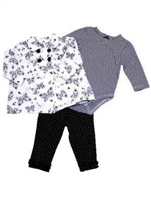 Комплект из 3-х предметов для девочки Бабочка Little Me. Цвет: черный, белый