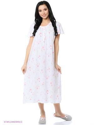 Ночная сорочка Aria. Цвет: белый, розовый