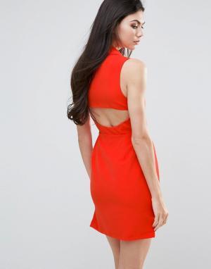 Lavish Alice Цельнокройное платье с вырезом сзади. Цвет: оранжевый