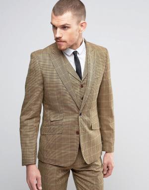 Gianni Feraud Коричневый пиджак узкого кроя в клетку. Цвет: коричневый