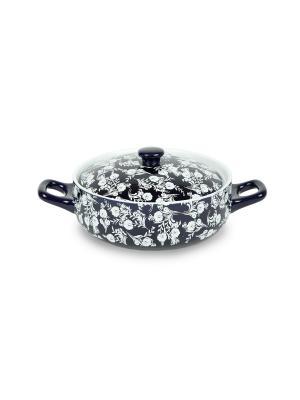Жаровня из жаростойкой керамики (духовка/микроволновка) 1,35 л Peterhof. Цвет: темно-синий, белый
