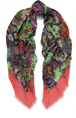 Хлопковая шаль с цветочным принтом Gucci. Цвет: зеленый
