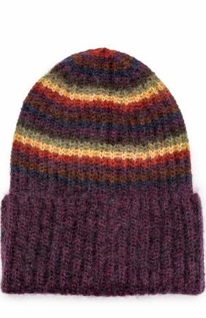 Вязаная шапка в полоску Tak.Ori. Цвет: фиолетовый