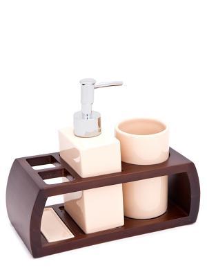 Набор для ванн из 3 предметов (подставка, дозатор, стакан) Blonder Home. Цвет: бежевый