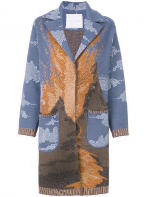 Трикотажное пальто с узором Giada Benincasa. Цвет: синий