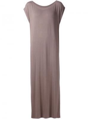 Длинное платье с разрезами по бокам Liwan. Цвет: коричневый