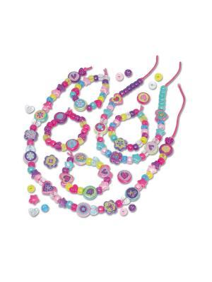 Набор сделай украшение Переливающиеся Бусы и браслеты Galt. Цвет: розовый