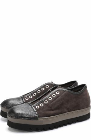 Замшевые кеды без шнуровки на толстой подошве Rocco P.. Цвет: темно-серый