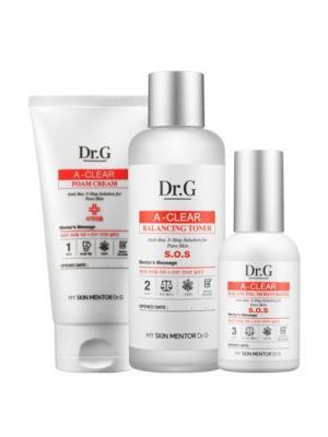 Двухступенчатый комплекс для проблемной кожи против акне A-Clear 2-Step Solution, 3шт*10+10мл Dr.G. Цвет: белый