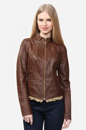 Куртка кожаная SUSSEX. Цвет: коричневый