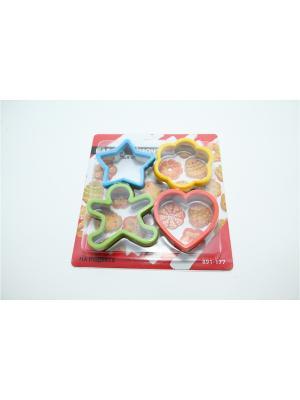 Набор формочек для печенья 4шт, на подвесе, силикон, металл Vetta. Цвет: синий,зеленый,светло-оранжевый,желтый