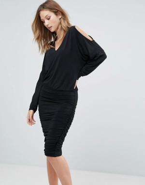 Gestuz Свободное платье с разрезами на рукавах Penn. Цвет: черный
