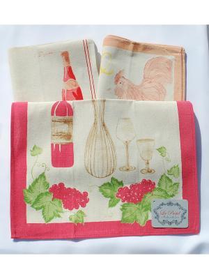 Набор полотенец Лен 6 предметов 40х60. La Pastel. Цвет: бежевый, малиновый, молочный