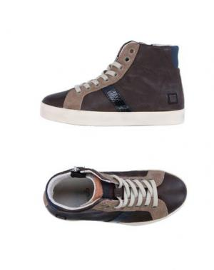 Высокие кеды и кроссовки D.A.T.E. KIDS. Цвет: темно-коричневый