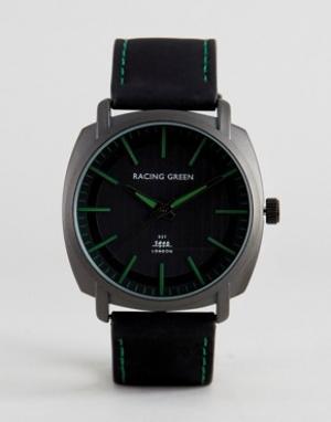 Racing Green Черные часы с зеленой разметкой. Цвет: черный