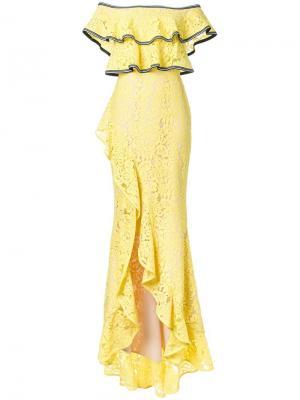 Кружевное платье Wilson Rebecca Vallance. Цвет: жёлтый и оранжевый