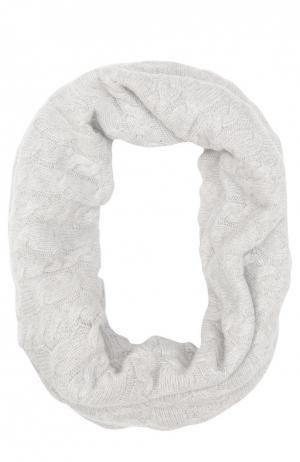 Вязаный шарф-хомут из кашемира Johnstons Of Elgin. Цвет: светло-серый