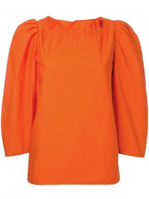 Блузка с круглым вырезом Atlantique Ascoli. Цвет: жёлтый и оранжевый