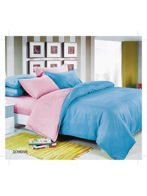 Комплект постельного белья Доменико Манетти Павлина. Цвет: голубой, бледно-розовый